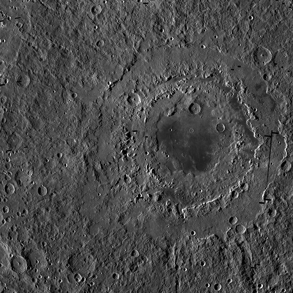 Orientale basin has three distinct rings. This view is a mosaic of images from NASA's Lunar Reconnaissance Orbiter. (Credit: NASA/GSFC/Arizona State University)